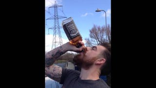 Bearded Welsh Hero Drinks Entire Bottle of Jack in 15 Seconds