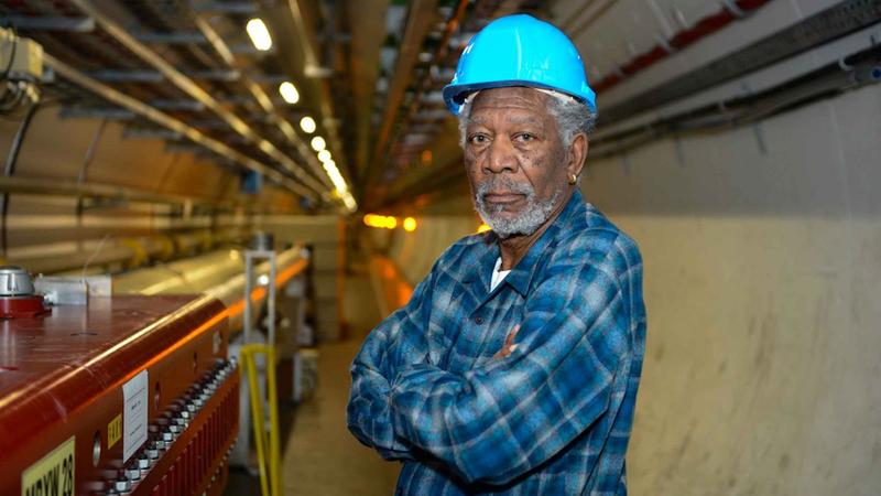 Morgan Freeman, in a CERN hard hat, inside the Large Hadron Collider