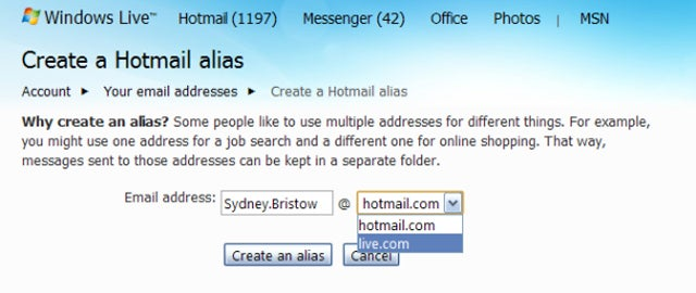 Create Up To Five Throw-Away Hotmail Addresses For Spam, Lukewarm Dates or Evil Deeds