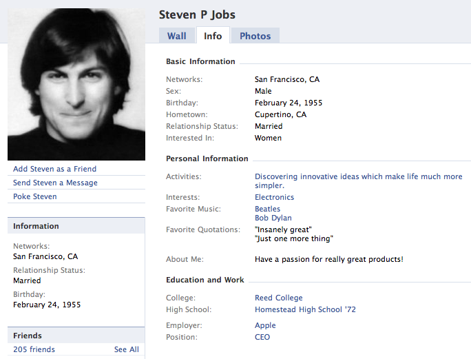 A fake Steve Jobs pops up on Facebook