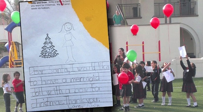 Magical Red Balloon Helps Make Little Girl's Christmas Wish Come True