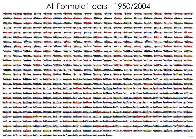F1 cars 1950-2004