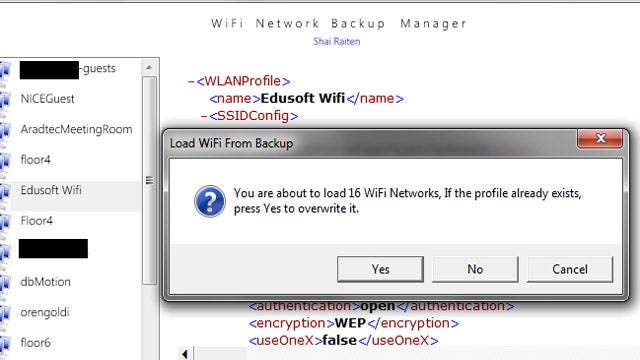 Wi-Fi Network Backup Manager Saves and Restores Your Wi-Fi Configuration
