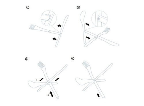 Puzzle Utensils Simplify Fork-Knife-Spoon Teepee Construction