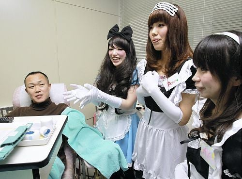 Maids Entice Young Men to Give Blood