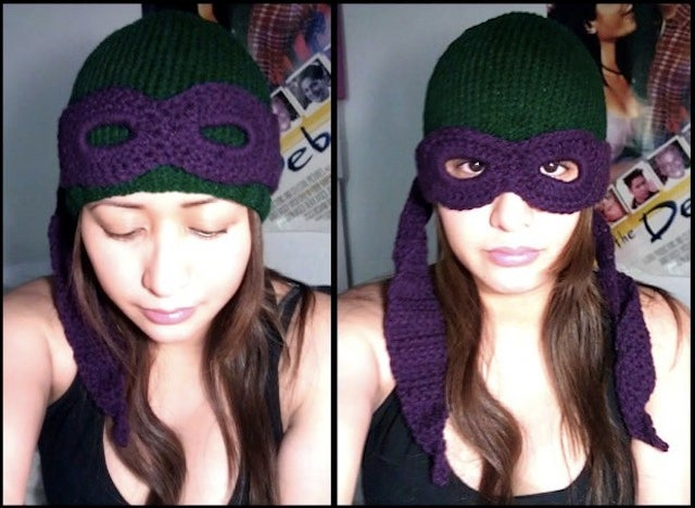 Masked Ninja Turtle beanie keeps your face warm, awesome