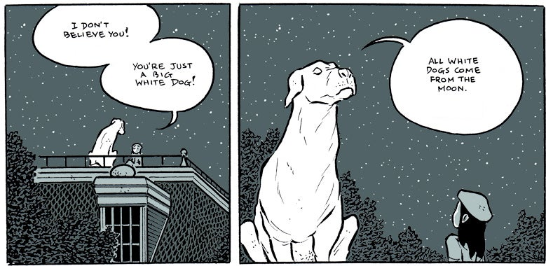 In Ectopiary, a girl finds a house full of mysteries and a dog from the moon