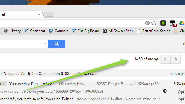 Get More Gmail Search Results Per Page With This Bookmarklet