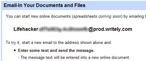 Upload Google Docs via email