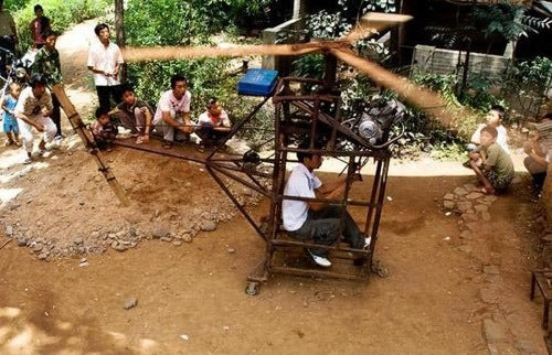 "Fearless Chinese Farmer Builds Dubious ""Working"" Helicopter Using Wood, Massive Cojones"