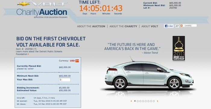 Chevy Auctioning First Volt For Charity