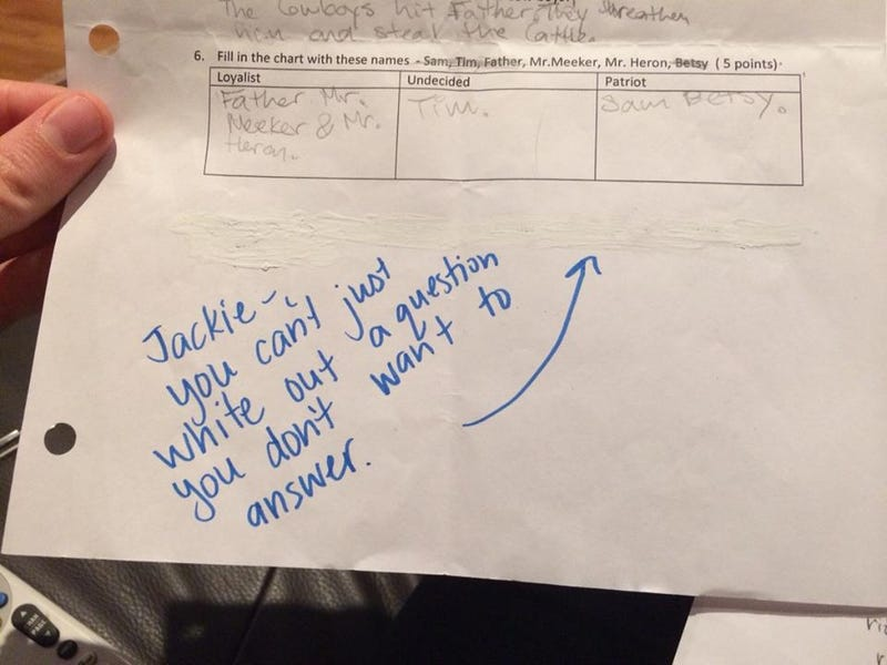 Student Uses White Out to 'Erase' Test Question She Can't Answer