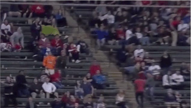 Cleveland Fan Takes Baseball Square In The Face
