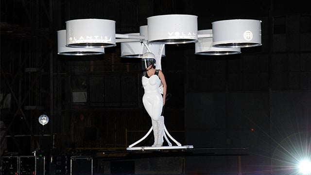 Watch Lady Gaga floating around in a flying dress like a freaking drone
