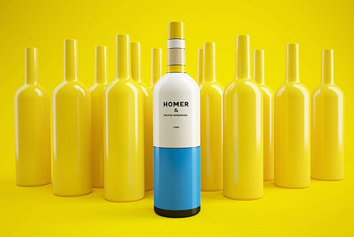 I wanna get drunk on this Mondrian art-inspired Homer Simpson wine