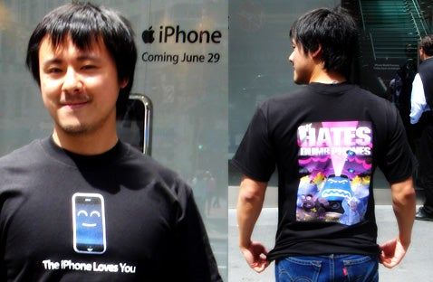 Lnelyiphonefan30 Models Gizmodo's Exclusive iPhone T-Shirt
