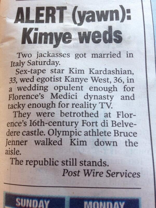 "New York Post's Kimye Wedding Coverage: ""Two Jackasses Got Married"""