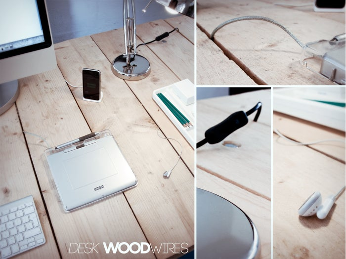DIY Plank Desk Inventively Hides Your Desktop Cord Clutter