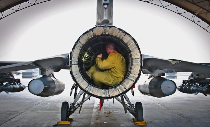 The interior of an F-16's engine looks like a surprisingly comfy place