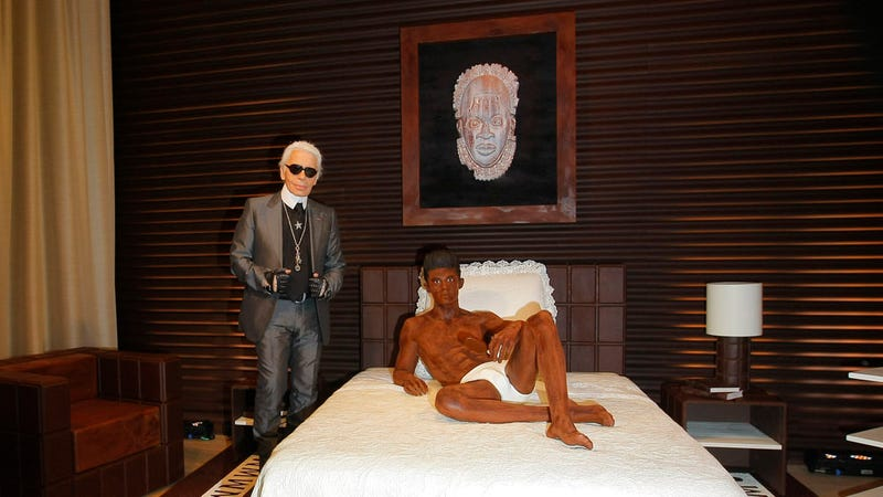 Karl Lagerfeld Made a Sculpture of His Imaginary Boyfriend in Chocolate
