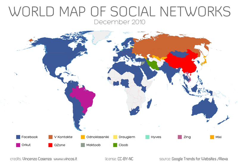 A map of Earth's nations, divided into social networks