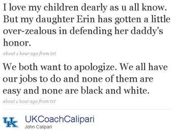 This Time On Twitter, Calipari Apologizes