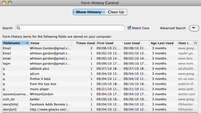 Form History Control Lets You Selectively Manage and Delete Saved Form Entries