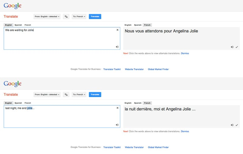 Like Jennifer Aniston, Google Translate Is Obsessed With Angelina Jolie