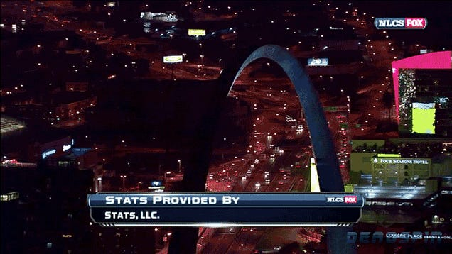 "Fox Needs To Update Their St. Louis Stock Footage, As Last Night's NLCS Closing Shot Featured A ""Go Pujols"" Sign"