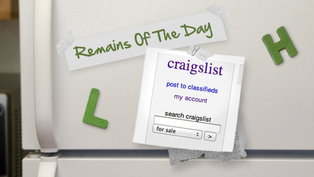 Remains of the Day: Craigslist Is Now the Sole Owner of Your Ads
