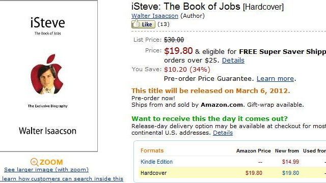 Official Steve Jobs Biography Gets a Cover and Price Thanks to Amazon