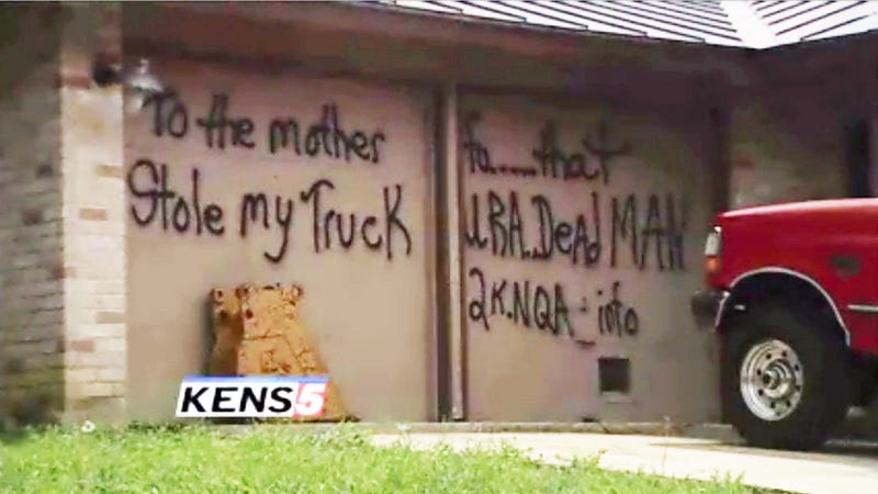 Texan Graffitis His Own Home To Get Back At Truck Thief