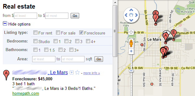Use a Google Maps Filter to See Nearby Foreclosures