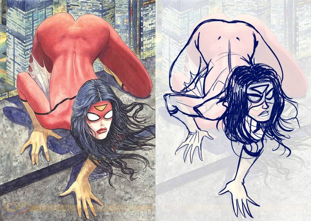 ¿Es la polémica portada de Spider-Woman anatómicamente imposible?
