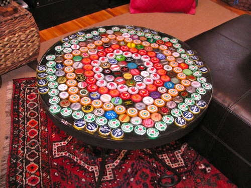 Make a Bottle-Cap Table with a Poured Resin Surface