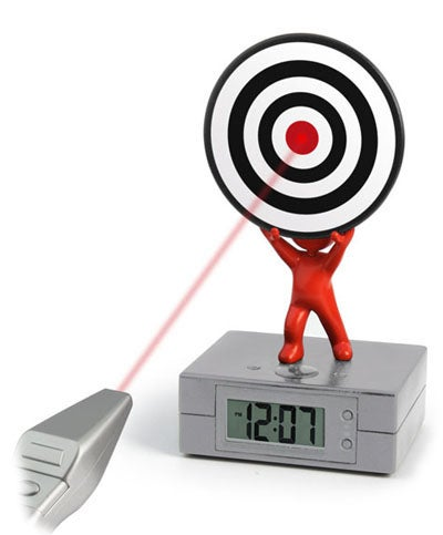 Laser Target Alarm Clock: There is No Way I'm Doing This in The Morning