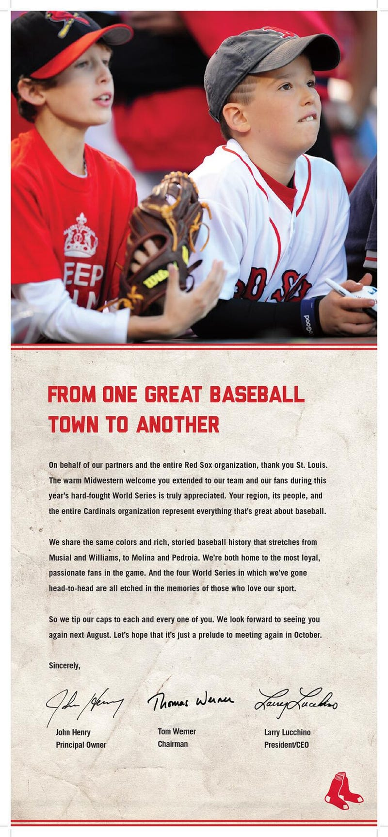 Red Sox Take Out Newspaper Ad Thanking St. Louis