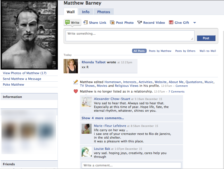 Matthew Barney Facebook Divorces Bjork