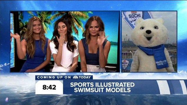 Nightmare Bear Greets Swimsuit Models With His Cold, Soulless Eyes