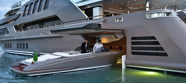 A super yacht with a garage for smaller boats is for Boat garages