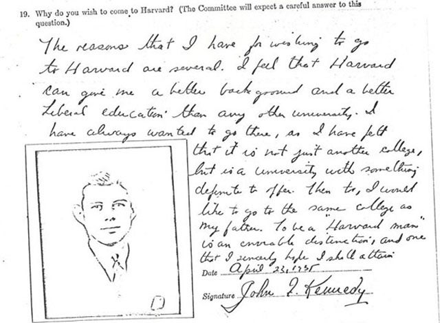 JFK's Unimpressive Harvard Application