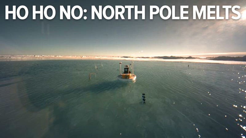 Shocking pictures show North Pole covered in water