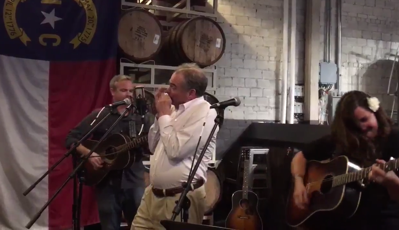 Your Dad Tim Kaine Nervously Played Harmonica to 'Wagon Wheel' Last Night