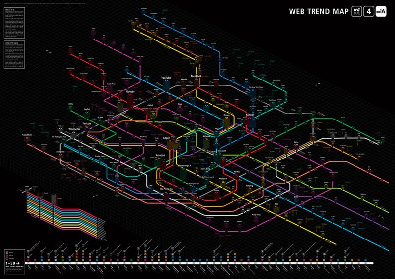The Internet Beautifully Visualized As High-Res Tokyo Subway Map, Again
