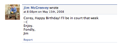 Jim McGreevey Can't Come to Your Birthday Party :(