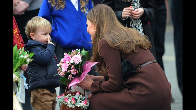 Kid Really Goes After That Booger, Meets Kate Middleton