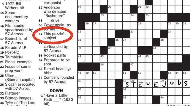 The New York Times Made a Steve Jobs Themed Crosswords Puzzle