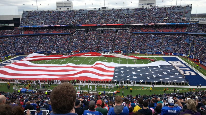 Flag Rips In Buffalo During National Anthem