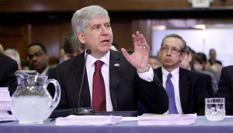 Thanks to Flint, Gov. Rick Snyder Can't Even Go Out and Enjoy a Glass of Unpoisoned Water in Peace