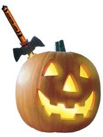 Sword Illuminates a Pumpkin by Impaling It